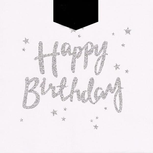 Guardanapos Happy Birthday Prateado, 12 unid.