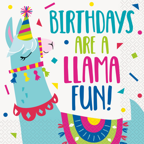 Guardanapos Lama Birthday, 16 unid.
