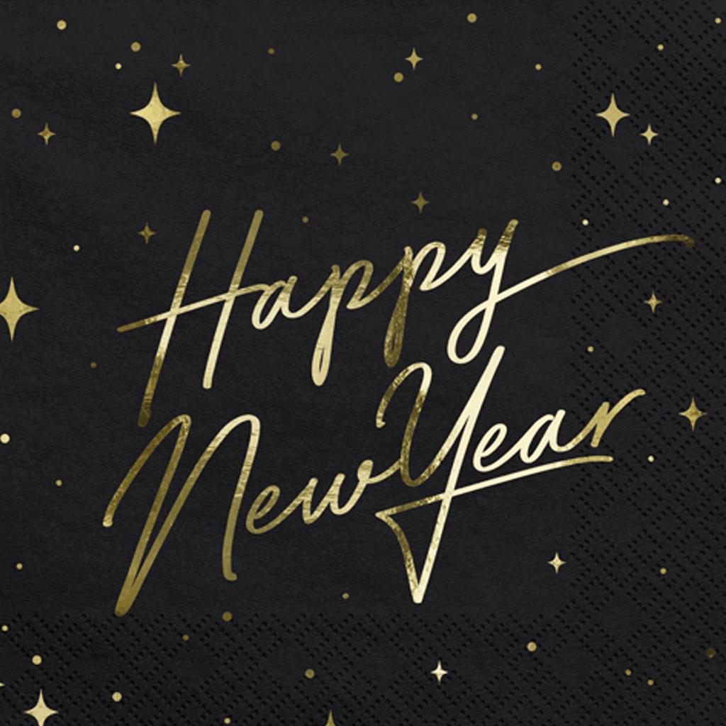 Guardanapos Pretos Happy New Year, 20 Unid.