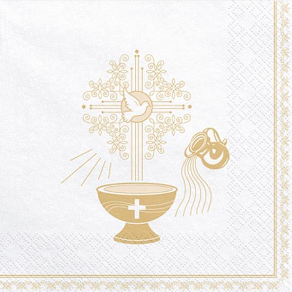 Guardanapos Sagrado Batizado Dourado, 20 unid.