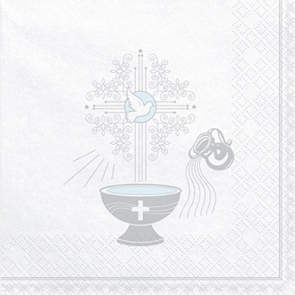 Guardanapos Sagrado Batizado Prateado, 20 unid.