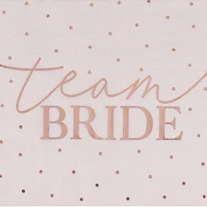 Guardanapos Team Bride Rosa Gold, 16 unid.
