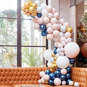 Kit Arco 200 Balões Mármore, Dourado e Azul Cromado