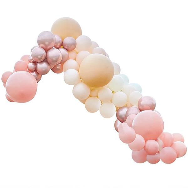Kit Arco 200 Balões Rosa Gold, Pêssego, Coral e Blush