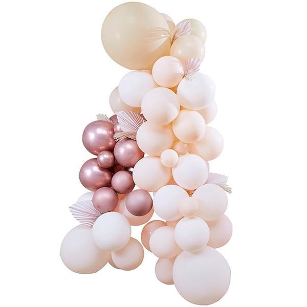 Kit Arco 70 Balões Pêssego, Blush, Caramelo e Rosa Gold