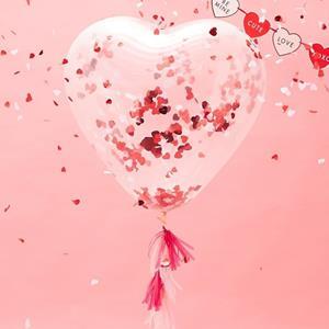 Kit Balão Coração com Confetis Látex