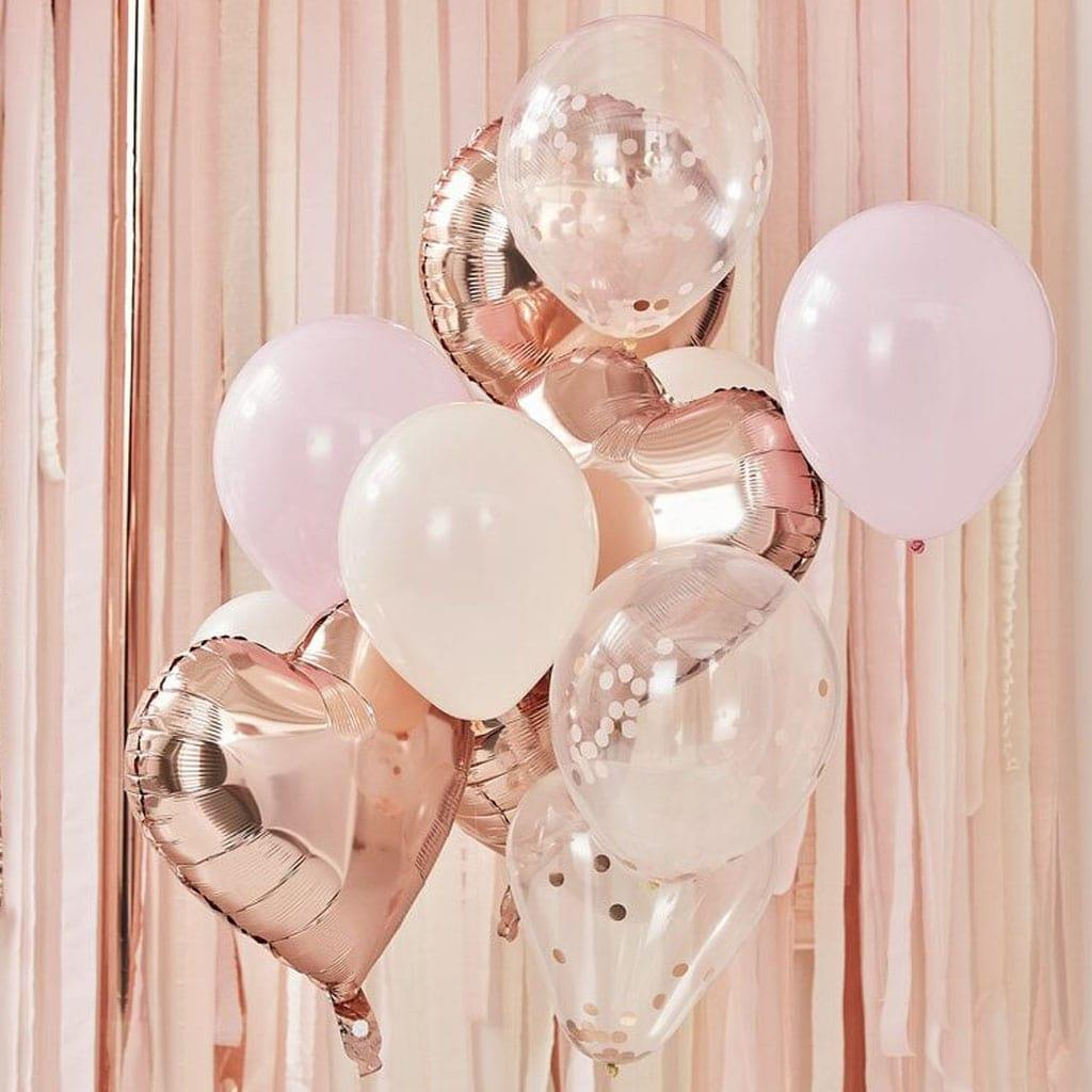 Kit Balões Blush, Rosa e Rosa Gold, 12 unid.