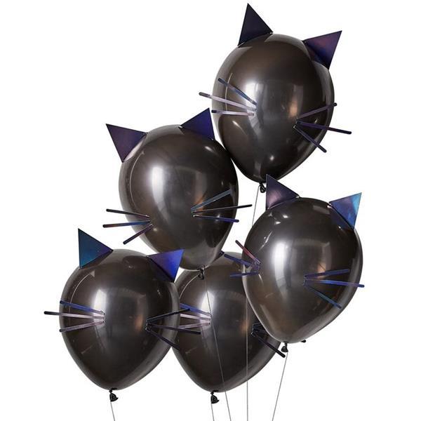 Kit Balões Gatos com Orelhas e Bigodes Látex, 5 unid.