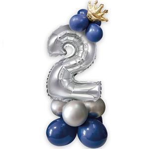 Kit Balões Látex e Número 2 Prateado com Coroa