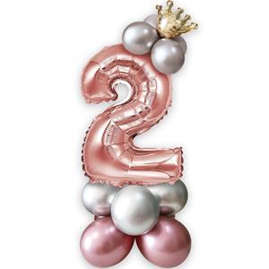 Kit Balões Látex e Número 2 Rosa Gold com Coroa