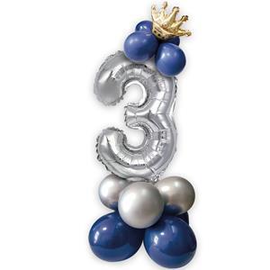 Kit Balões Látex e Número 3 Prateado com Coroa