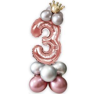 Kit Balões Látex e Número 3 Rosa Gold com Coroa