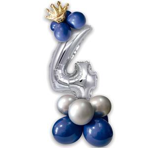 Kit Balões Látex e Número 4 Prateado com Coroa