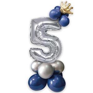 Kit Balões Látex e Número 5 Prateado com Coroa