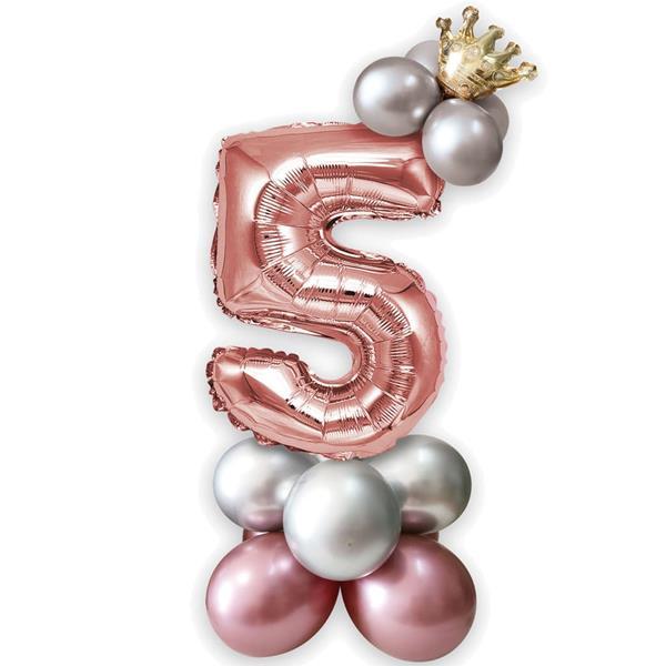 Kit Balões Látex e Número 5 Rosa Gold com Coroa