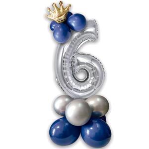 Kit Balões Látex e Número 6 Prateado com Coroa