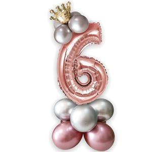Kit Balões Látex e Número 6 Rosa Gold com Coroa