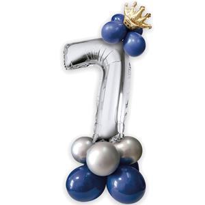 Kit Balões Látex e Número 7 Prateado com Coroa