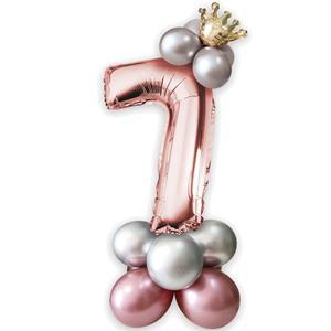 Kit Balões Látex e Número 7 Rosa Gold com Coroa