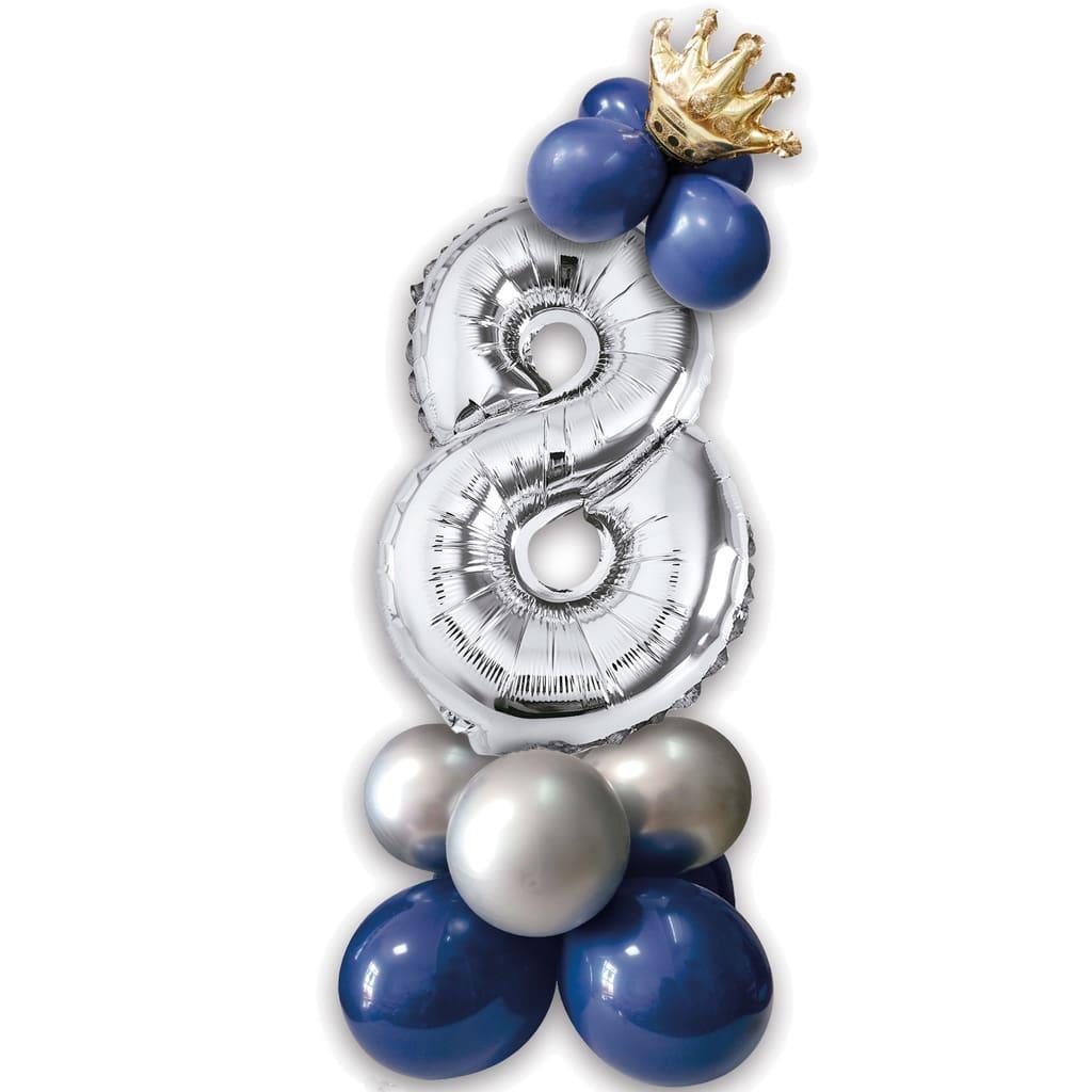 Kit Balões Látex e Número 8 Prateado com Coroa