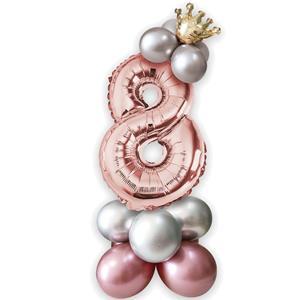 Kit Balões Látex e Número 8 Rosa Gold com Coroa