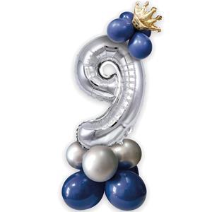 Kit Balões Látex e Número 9 Prateado com Coroa