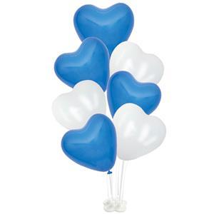 Kit Bouquet de Balões Coração Azul e Branco