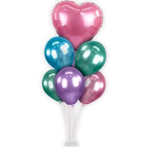 Kit Bouquet de Balões Cromados e Coração Rosa, 100 cm