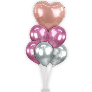 Kit Bouquet de Balões Cromados e Coração Rosa Gold, 100 cm