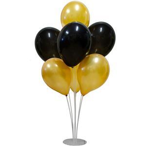 Kit Bouquet de Balões Pretos e Dourados, 100 cm