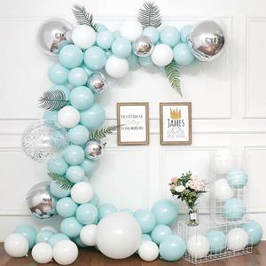 Kit Grinalda Balões Azul Pastel e Branco