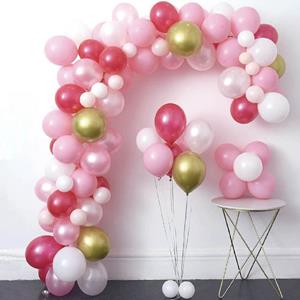 Kit Grinalda Balões Rosa, Brancos e Dourados