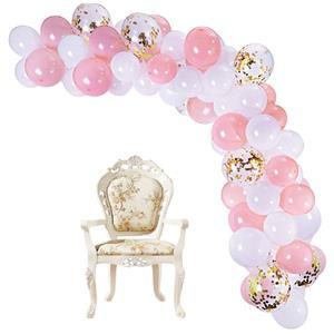 Kit Grinalda Balões Rosa e Brancos