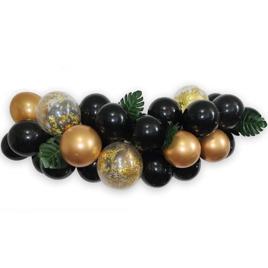 Kit Grinalda com Balões Pretos e Dourados
