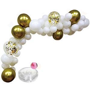 Kit Grinalda Balões Brancos e Dourados