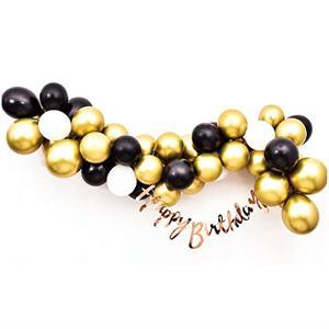 Kit Grinalda Happy Birthday com Balões Dourados e Pretos