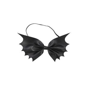 Laço Asas de Morcego Preto em Napa, 15 cm