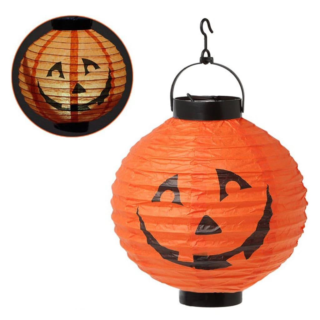 Lanterna Papel Abóbora Halloween, 20 cm