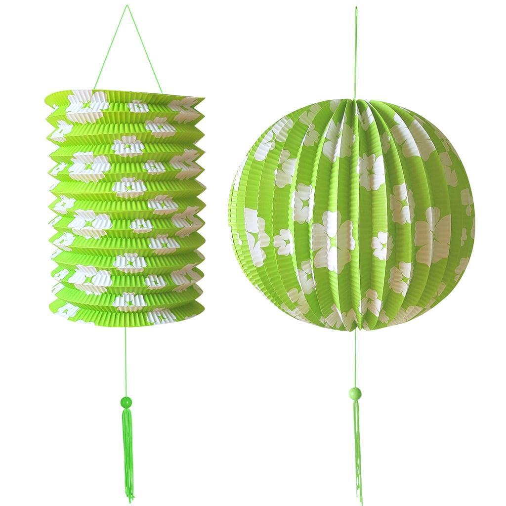 Lanterna e Balão de Papel Verde com Flores
