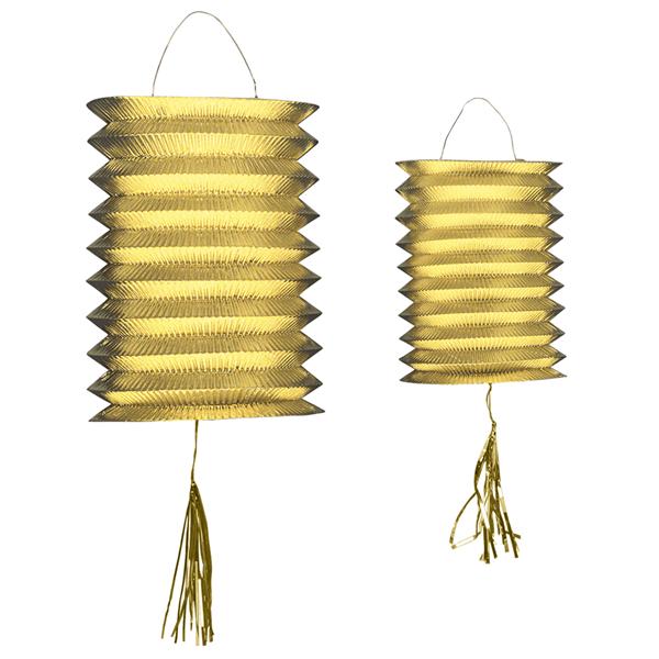Lanterna Papel dourada, 2 Unid.