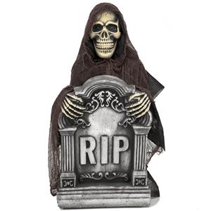 Lápide R.I.P Esqueleto com Luz, Som e Movimento, 55 x 33 cm