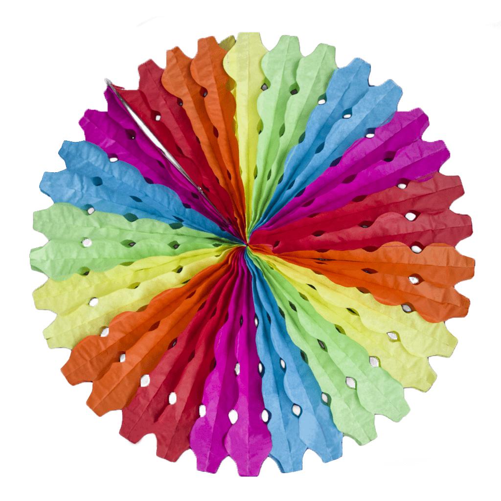 Leque Papel Multicolor Ondas 50cm