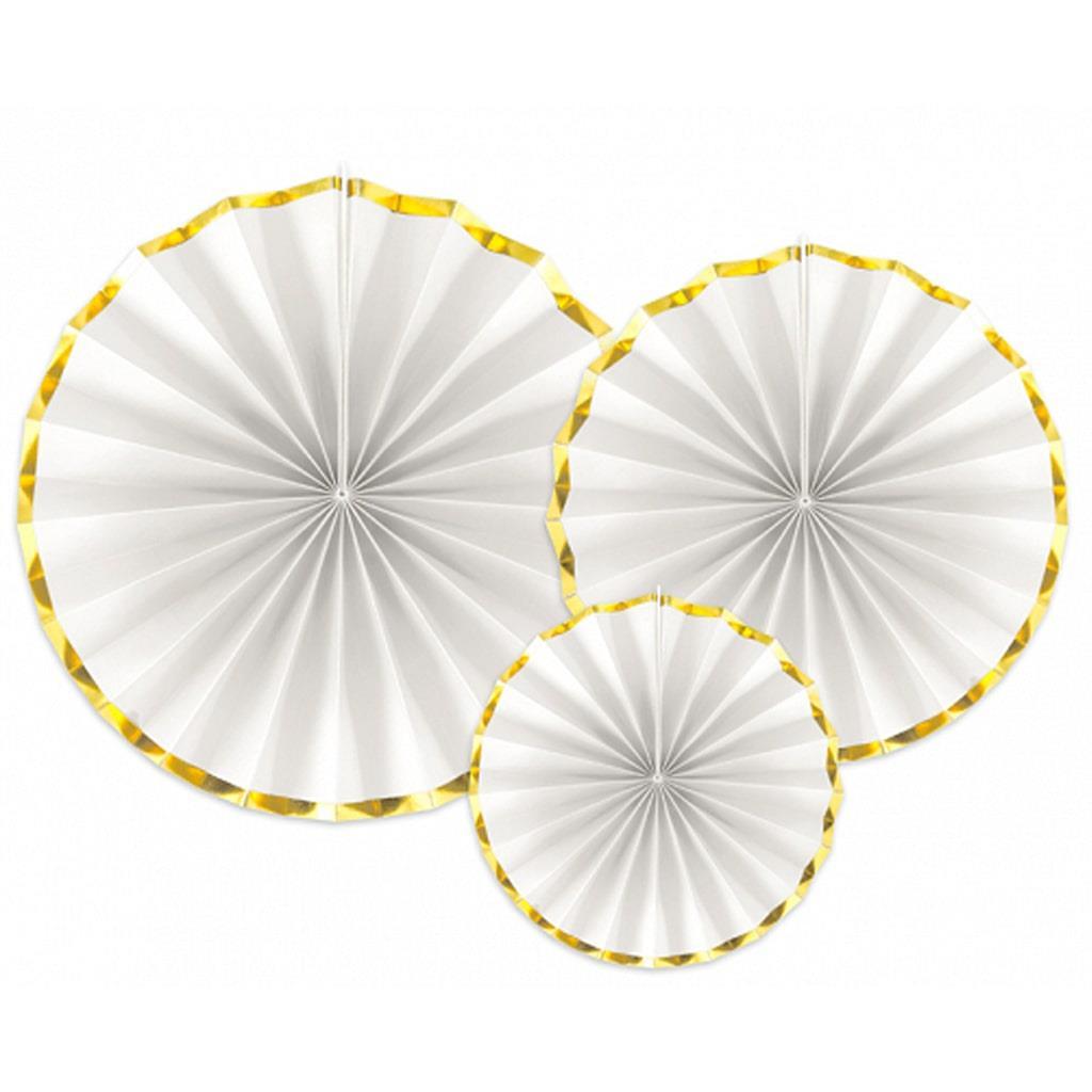 Leques Brancos com Rebordo Dourado, 3 unid.