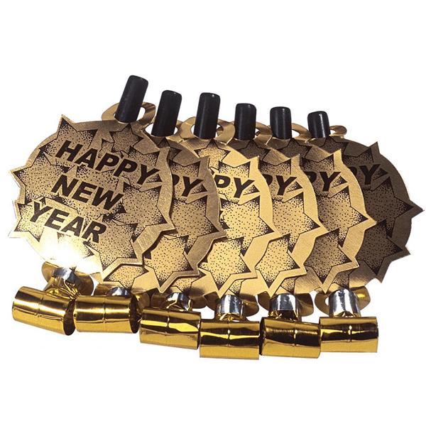 Línguas da Sogra Douradas Happy New Year, 6 unid.