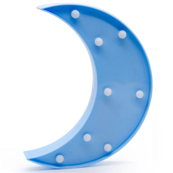 Lua Azul Decorativa com Luz, 24 cm