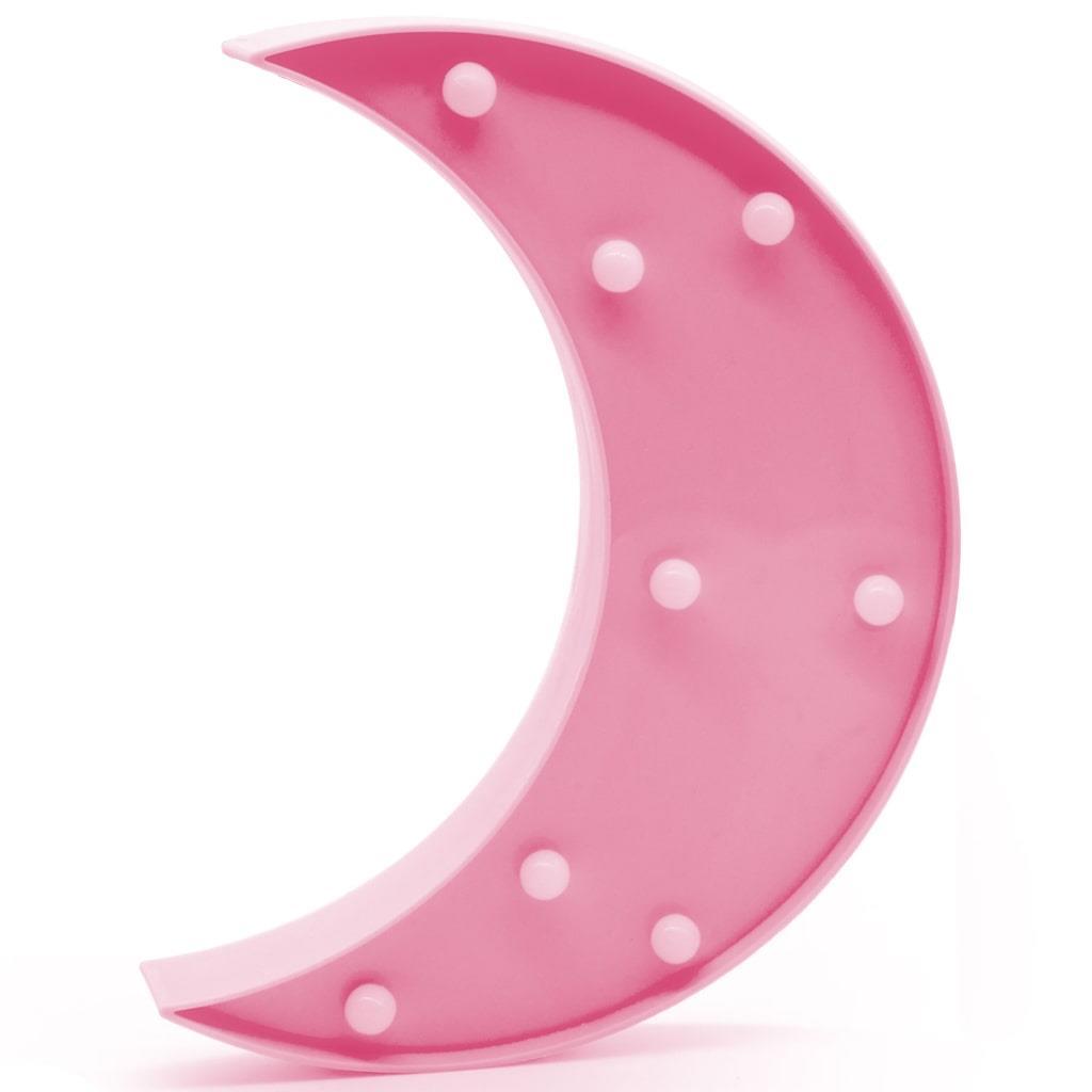 Lua Rosa Decorativa com Luz, 24 cm