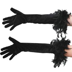 Luvas pretas compridas com penas