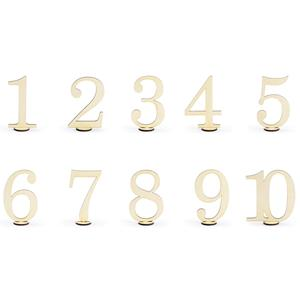 Marcadores de Mesa Números em Madeira, 10 unid.