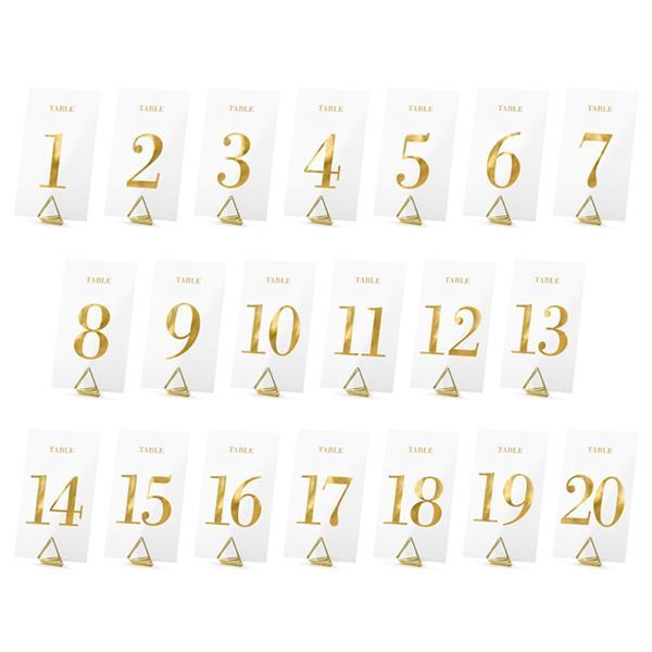 Marcadores de Mesa Transparentes com Números, 20 Unid.