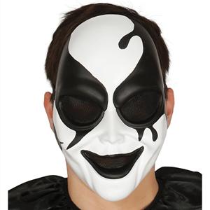 Máscara Arlequim Assassino Preto e Branco em Plástico